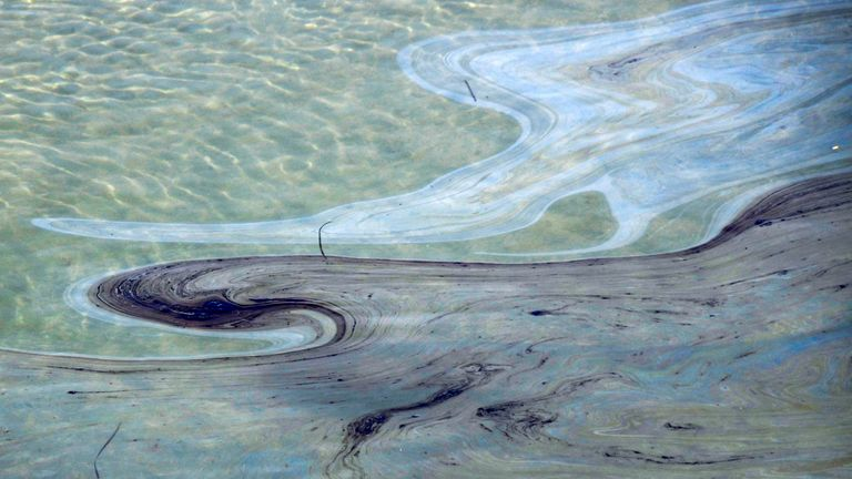 Oil slicks float on the water in the Talbert Channel after an oil spill off the coast of California has come ashore in Huntington beach, California, U.S. October 3, 2021. REUTERS/Gene Blevins