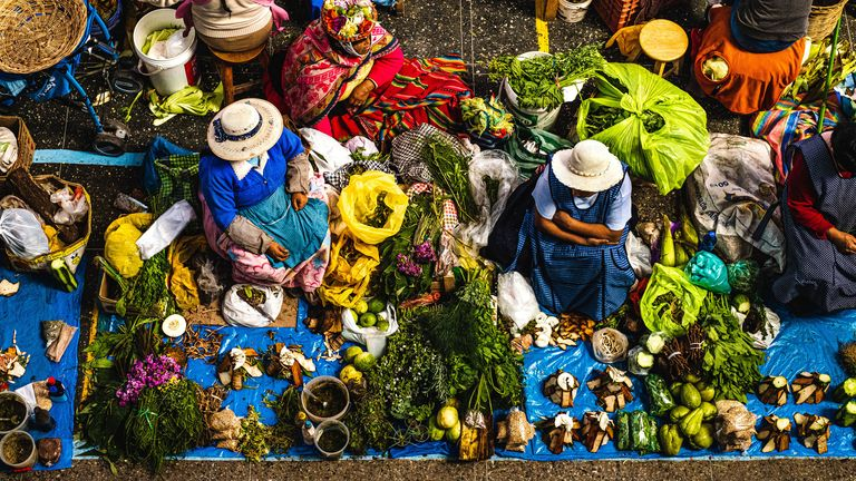 Undated handout photo issued by the National Geographic of vegetables, fruit, spices and herbs displayed at a daily food market in Urubamba, a town in the heart of Peruvian Sacred Valley. The image, taken by Karolina Wiercigroch, was the runner-up in the food and travel category at the National Geographic Traveller (UK) Photography Competition 2021. Issue date: Tuesday October 5, 2021.