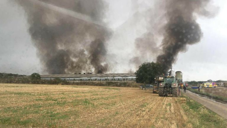 firefighters at the scene of a fire at an Oxfordshire pig farm