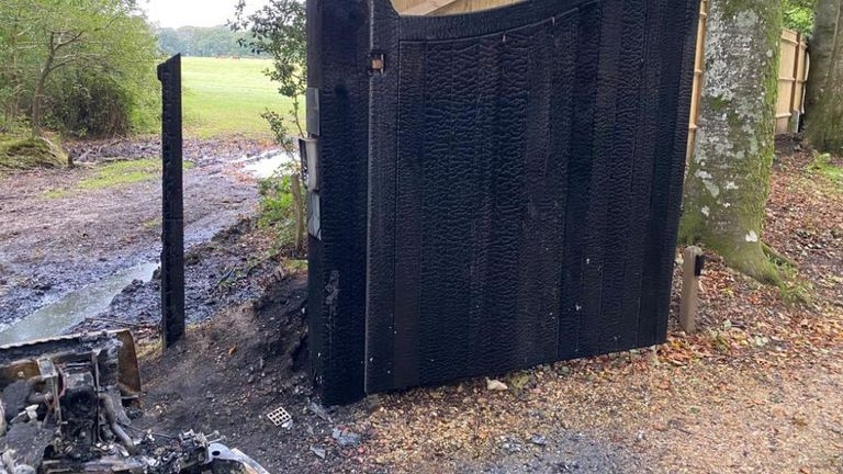 BBC presenter Chris Packham's front gate. It was burnt after someone set a Land Rover alight.