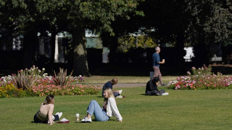 People enjoying the Autumn sunshine in Forbury Gardens in Reading. Picture date: Friday September 24, 2021.