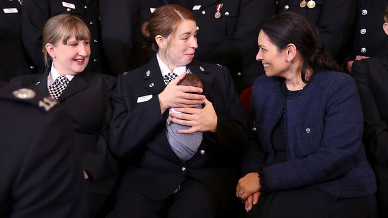 The Home Secretary, Priti Patel reacts as she speaks with Holly Necchi and her baby Autumn as she meets nominees for the Police Bravery Award at a reception held within Number 10 Downing Street. Picture by Tim Hammond / No 10 Downing Street