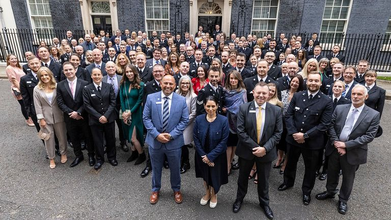 12/10/2021. London, United Kingdom. The Home Secretary, Priti Patel meets nominees for the Police Bravery Award at a reception held within Number 10 Downing Street. Picture by Tim Hammond / No 10 Downing Street  12/10/2021. London, United Kingdom. The Home Secretary, Priti Patel meets nominees for the Police Bravery Award at a reception held within Number 10 Downing Street. Picture by Tim Hammond / No 10 Downing Street