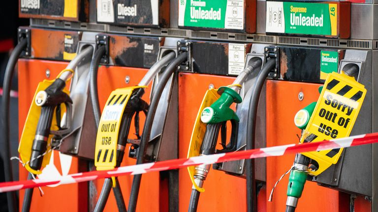 General view of out of use petrol pumps at a petrol station in central London. Picture date: Friday October 1, 2021.