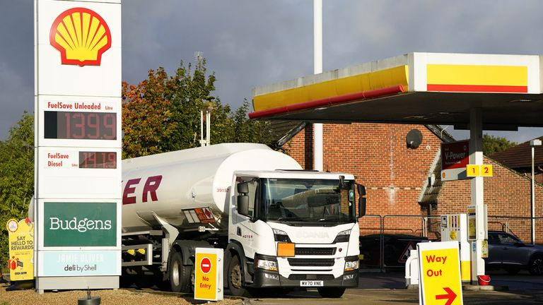 A Hoyer tanker makes a delivery at a Shell petrol station in Basingstoke, Hampshire. Picture date: Tuesday October 5, 2021.