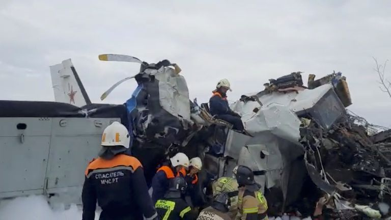 Emergency specialists work at the crash site of the L-410 plane near the town of Menzelinsk in the Republic of Tatarstan, Russia October 10, 2021, in this still image taken from video. Pic: Russia's Emergencies Ministry via Reuters