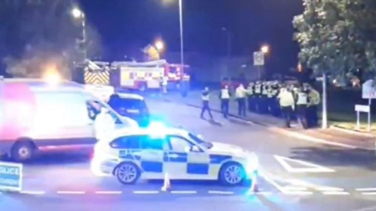 Police attend scene of explosion in Ayr, Scotland