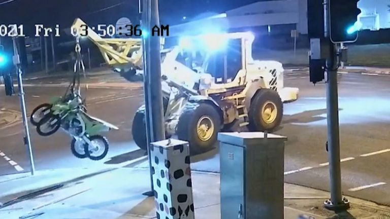 A man was charged by Queensland Police over an attempt to steal motorcycles using a front end loader.