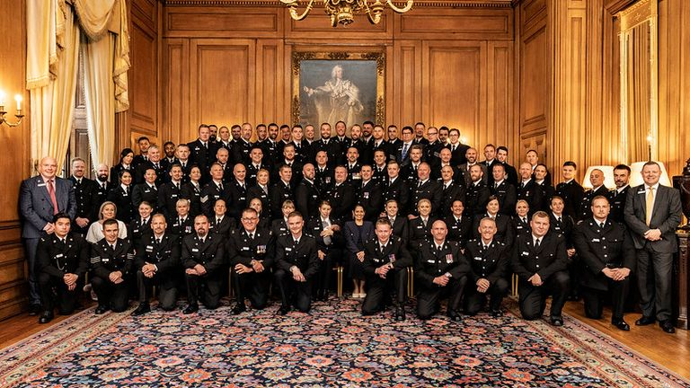 12/10/2021. London, United Kingdom. The Home Secretary, Priti Patel meets nominees for the Police Bravery Award at a reception held within Number 10 Downing Street. Picture by Tim Hammond / No 10 Downing Street