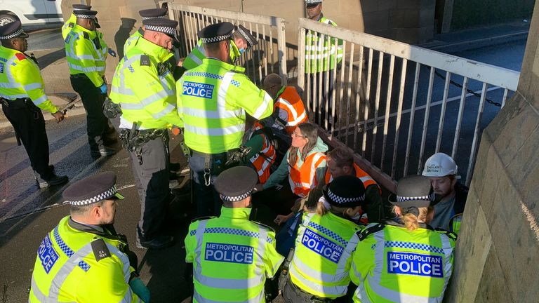 Insulate Britain protestors have blocked both sides to the Blackwall tunnel this morning. Protestors glued themselves to the tunnel in South East London causing long queues.  Sent in from - Ali Fortescue