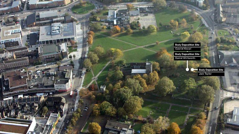 Undated handout aerial image issued by the Metropolitan Police showing the spots where bodies were dumped by Stephen Port during his 16-month killing spree. Issue date: Thursday October 7, 2021.