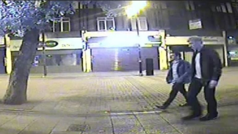 Handout CCTV image dated 13/9/2015 issued by Metropolitan Police of Stephen Port (right) with 25-year-old Jack Taylor on their way to alleged serial killer's one-bedroom flat in Cooke Street, Barking which was shown to a jury at the Old Bailey. PRESS ASSOCIATION Photo. Issue date: Wednesday October 19, 2016. Port has pleaded not guilty to 29 offences against a total of 12 men - including four murders, seven rapes, four sex assaults and administering a substance with intent. See PA story COURTS Poison. Photo credit should read: Metropolitan Police/PA Wire..NOTE TO EDITORS: This handout photo may only be used in for editorial reporting purposes for the contemporaneous illustration of events, things or the people in the image or facts mentioned in the caption. Reuse of the picture may require further permission from the copyright holder.