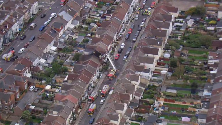 Two people have been seriously injured in an explosion and fire at a terraced house.