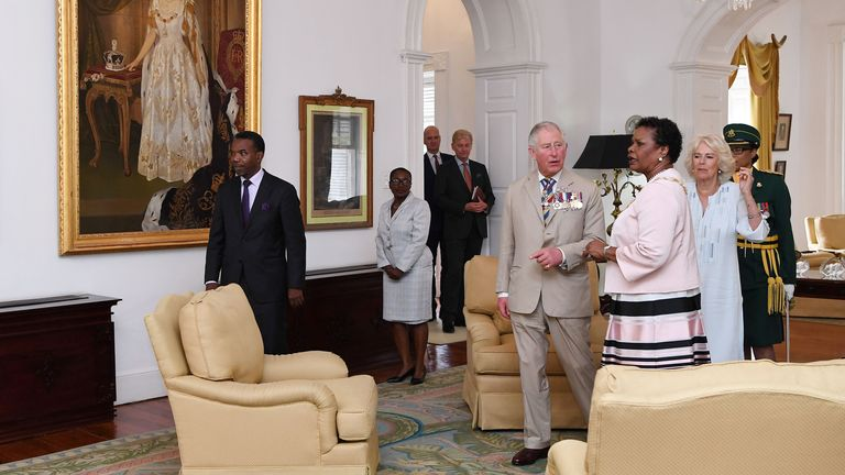 Prince Charles and Camilla, Duchess of Cornwall attend a meeting with the Governor-General of Barbados, Sandra Mason, in 2019