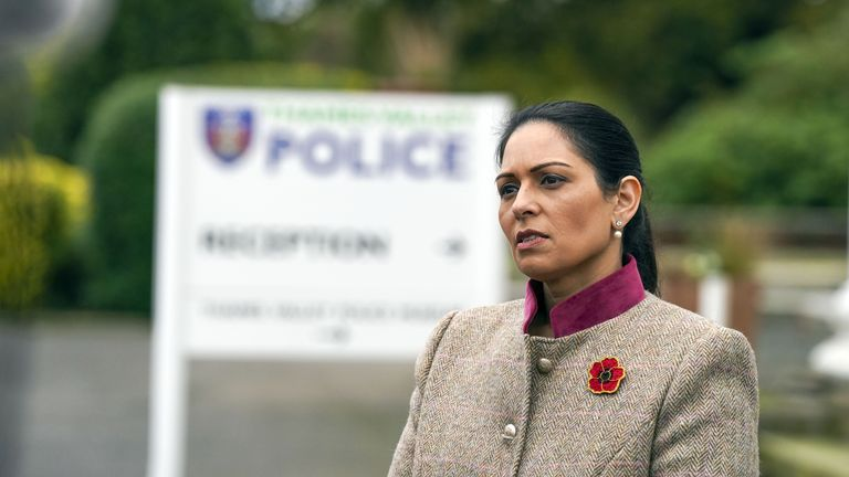 Home Secretary Priti Patel during a visit to Thames Valley Police Training Centre in Reading, following the news that over 11,000 police officers have now been hired as part of the Government pledge to recruit 20,000 extra officers by 2023. Picture date: Thursday October 28, 2021.