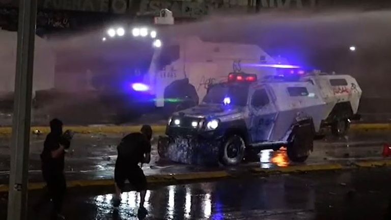 Skirmishes in Chile on anniversary of significant protest