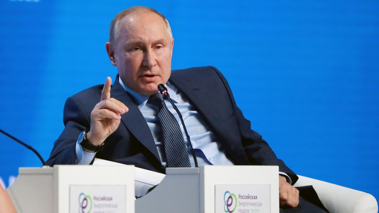 Russian President Vladimir Putin gestures during a plenary session of the Russian Energy Week International Forum in Moscow, Russia October 13, 2021. Sergei Ilnitsky/Pool via REUTERS