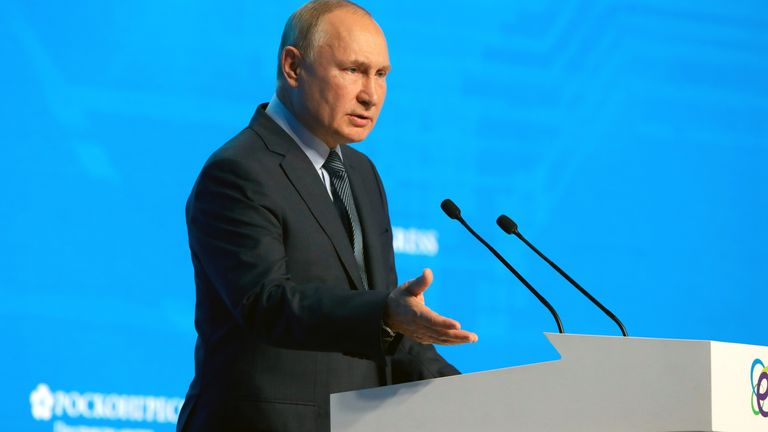Vladimir Putin speaks during a plenary session of the Russian Energy Week International Forum in Moscow