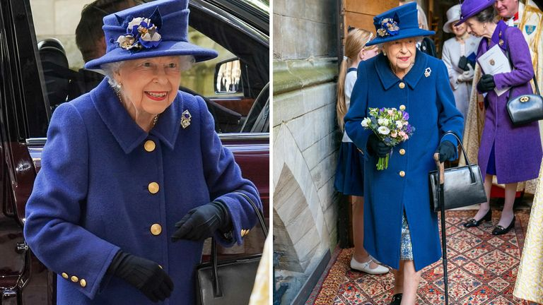 Comp -Queen Elizabeth II uses a walking stick as she arrives to attend a Service of Thanksgiving at Westminster Abbey in London to mark the Centenary of the Royal British Legion. Picture date: Tuesday October 12, 2021.