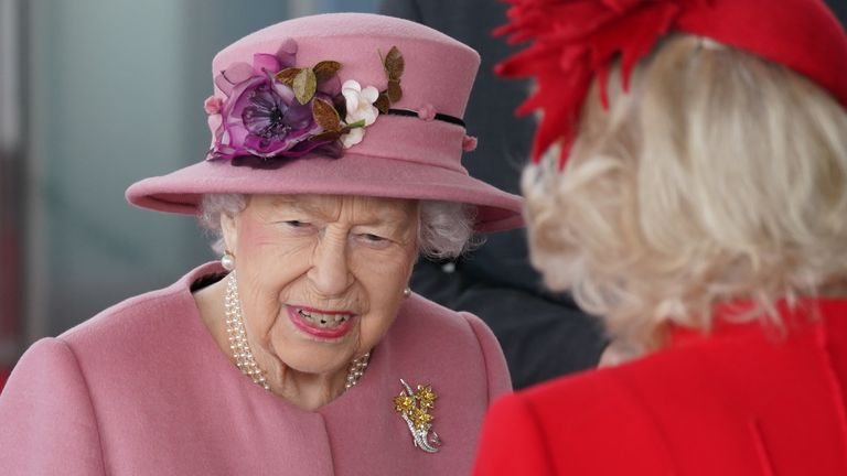 Queen Elizabeth II, accompanied by the Prince of Wales and Duchess of Cornwall attend the opening ceremony of the sixth session of the Senedd in Cardiff. Picture date: Thursday October 14, 2021.