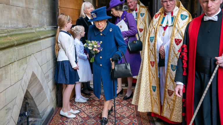 Queen Elizabeth II uses a walking stick as she arrives with the Princess Royal to attend a Service of Thanksgiving at Westminster Abbey in London to mark the Centenary of the Royal British Legion. Picture date: Tuesday October 12, 2021.