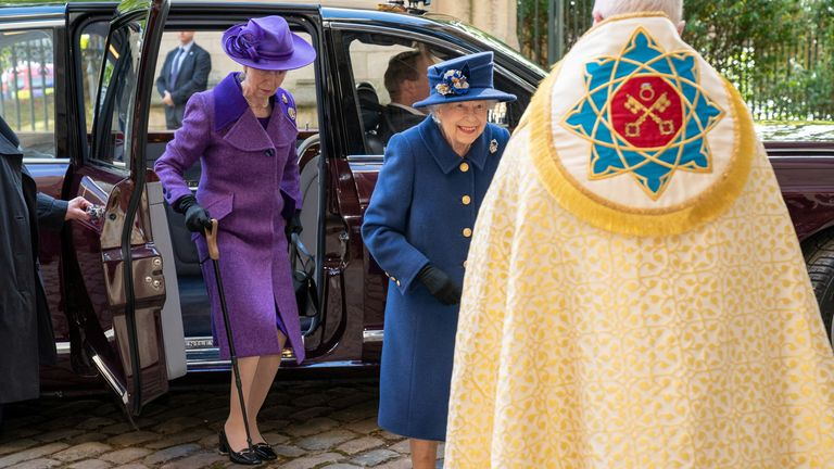 Britain's Queen Elizabeth and Anne, Princess Royal, attend a Service of Thanksgiving to mark the Centenary of the Royal British Legion at Westminster Abbey, London, Britain October 12, 2021. Arthur Edwards/Pool via REUTERS
