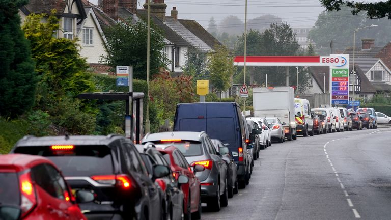 Motorists queue for fuel at an ESSO petrol station in Ashford, Kent. Picture date: Friday October 1, 2021.
