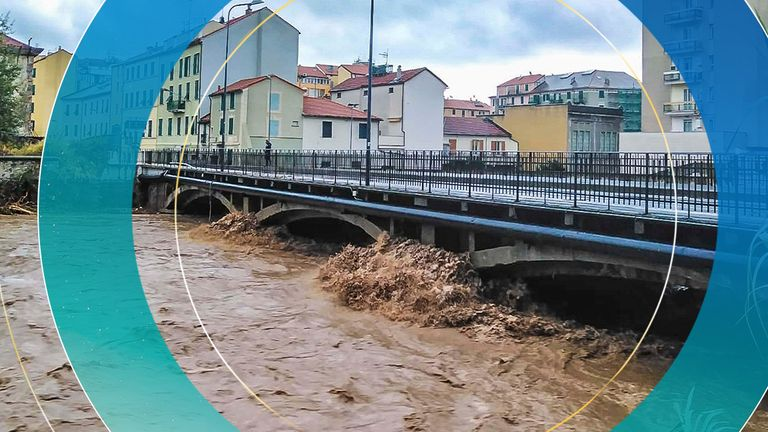 A view of a river near Savona in Northern Italy, swallowed after heavy rains in the region, Monday, Oct. 4, 2021. Heavy rain battered Liguria, the northwest region of Italy bordering France, causing flooding and mudslides on Monday in several places. No casualties were reported. The hardest-hit city was Savona, on the Ligurian Sea coast. But towns in the region's hilly interior also suffered flooding and landslides, as some streams overflowed their banks. (Tano Pecoraro/LaPresse via AP) PIC:AP