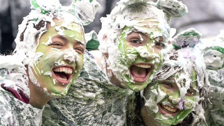 Hundreds of students take part in the traditional Raisin Monday foam fight on St Salvator's Lower College Lawn at the University of St Andrews in Fife. Picture date: Monday October 18, 2021.