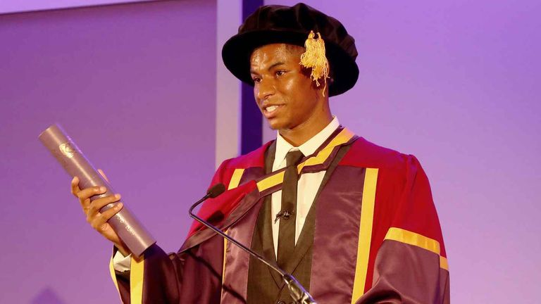 Rashford, 23, became the youngest recipient of an honorary doctorate from the university. Pic: Manchester United