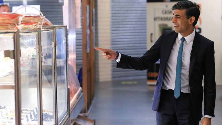 Chancellor of the Exchequer Rishi Sunak during a visit to Bury Market in Lancashire, the day after presenting his budget to the House of Commons. Picture date: Thursday October 28, 2021.