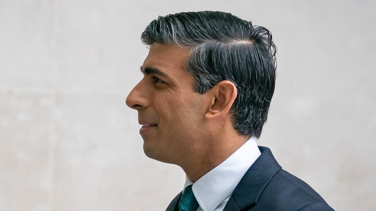 Chancellor of the Exchequer Rishi Sunak arrives at BBC Broadcasting House to appear on The Andrew Marr show