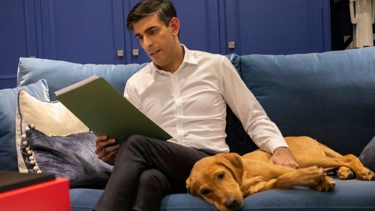 Chancellor Rishi Sunak, kept company by his red Labrador retriever puppy Nova, works on his budget speech. Pic: HM Treasury/Flickr