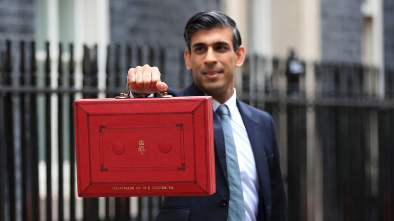Britain's Chancellor of the Exchequer Rishi Sunak holds the budget box outside Downing Street in London, Britain, October 27, 2021. REUTERS/May James