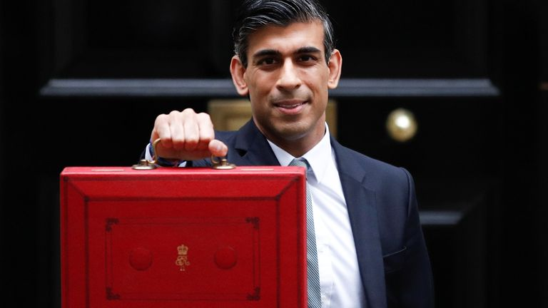 Britain's Chancellor of the Exchequer Rishi Sunak holds the budget box outside Downing Street in London, Britain, October 27, 2021. REUTERS/Peter Nicholls