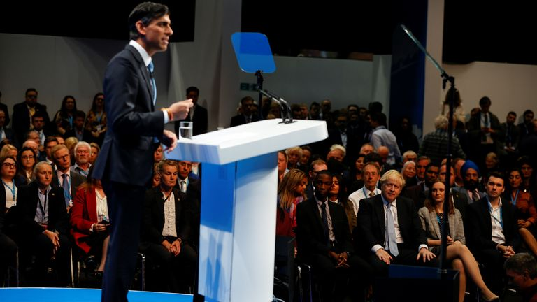 Mr Sunak had to endure an awkward moment during his speech in Manchester
