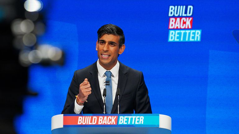 Chancellor of the Exchequer Rishi Sunak speaking at the Conservative Party Conference in Manchester. Picture date: Monday October 4, 2021.