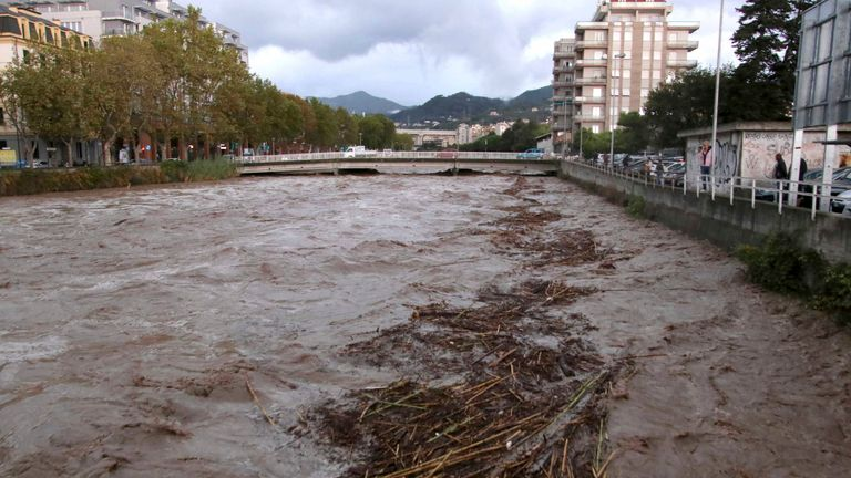 A view of a river near Savona in Northern Italy, swallowed after heavy rains in the region, Monday, Oct. 4, 2021. Heavy rain battered Liguria, the northwest region of Italy bordering France, causing flooding and mudslides on Monday in several places. No casualties were reported. The hardest-hit city was Savona, on the Ligurian Sea coast. But towns in the region's hilly interior also suffered flooding and landslides, as some streams overflowed their banks.  PIC:AP