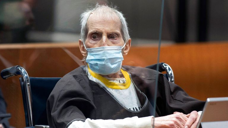 New York real estate scion Robert Durst, 78,   sits in the courtroom as he is sentenced to life in prison without chance of parole, Thursday, Oct. 14,2021 at the Inglewood Courthouse in Inglewood, Calif.  Durst was convicted of the the first-degree murder of his best friend, Susan Berman. Pic: LA Times/AP