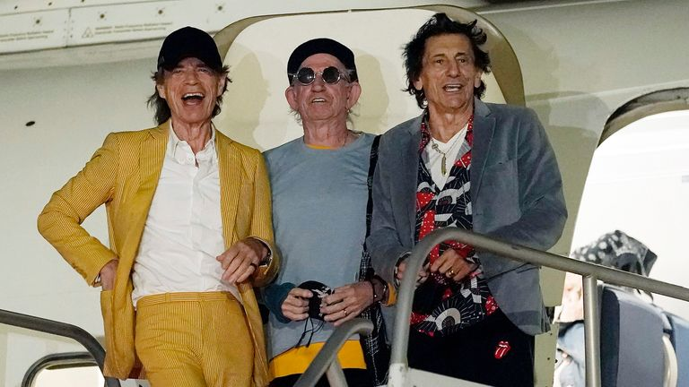 """Pic: AP OCT 11, 2021 - Mick Jagger, left, Keith Richards, center, and Ron Wood of The Rolling Stones arrive at Hollywood Burbank Airport in Burbank, Calif., Monday, Oct. 11, 2021, ahead of their shows this week at SoFi Stadium in Inglewood, Calif., for their """"NO FILTER"""" tour. (AP Photo/Chris Pizzello)"""
