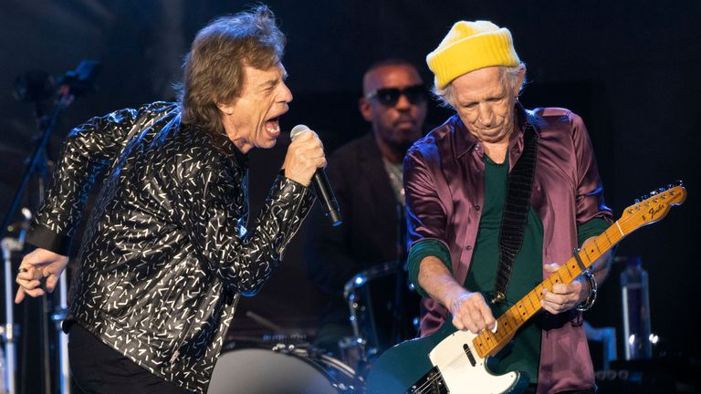 """Pic: Emily Matthews/Pittsburgh Post-Gazette/AP OCT 4th - 2021 The Rolling Stones perform during the band's """"No Filter Tour,"""" Monday, Oct. 4, 2021, at Heinz Field on the North Shore in Pittsburgh. (Emily Matthews/Pittsburgh Post-Gazette via AP)"""