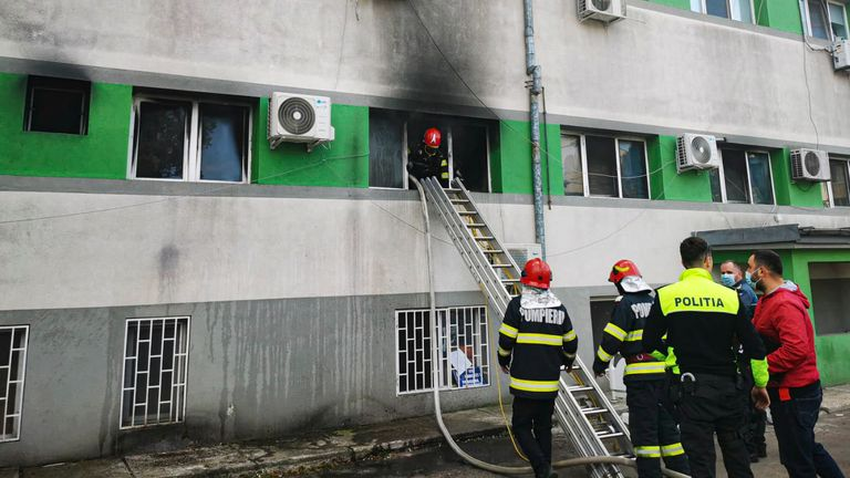 Pic: AP In this image released by Romania's Emergency Situations Inspectorate firefighters put out a blaze at the COVID-19 ICU section of the Hospital for Ifectious Diseases in the Black Sea port of Constanta, Romania, Friday, Oct. 1, 2021. A fire broke out Friday morning at a hospital in Romania...s port city of Constanta, leaving 9 people dead according to the country's Emergency Situations Inspectorate (IGSU).(Romanian Emergency Situations Inspectorate, IGSU via AP)..