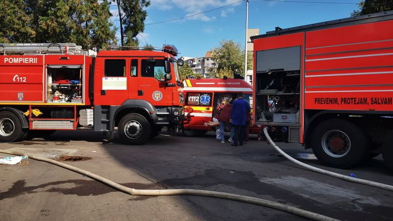 Fire engines were seen outside the hospital earlier on Friday
