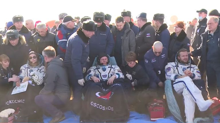 Roscosmos cosmonaut Oleg Novitskiy, Russian actress Yulia Peresild and film director Klim Shipenko rest after returning to Russia. Pic: Roscosmos via Reuters