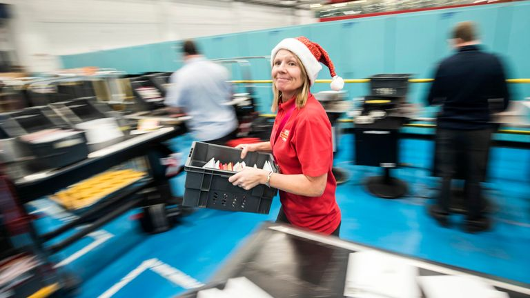 Royal Mail employee Jane Carroll at the Royal Mail Leeds Mail Centre as the company experience their busiest day of the year today in the run up to Christmas.13/12/2017