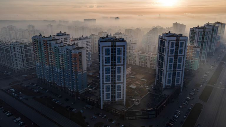 A general view shows Yekaterinburg city blanketed by smog from peat fire, Russia October 15, 2021. Picture taken with a drone. REUTERS/Alexei Kolchin