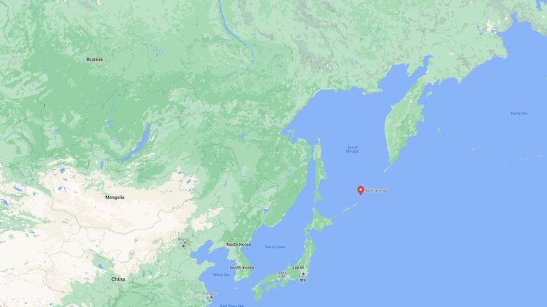 The disputed islands stretch between Japan and Russia. Pic: Google Maps