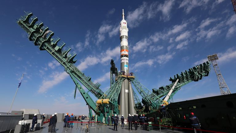 The Soyuz MS-19 spacecraft before it took off from the cosmodrome in Kazakhstan. Pic: Roscosmos/Handout via Reuters