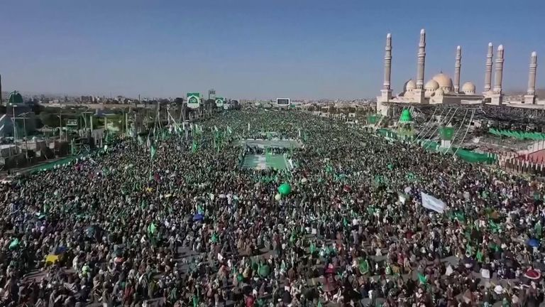 Houthi supporters rally to mark the Prophet Mohammad's birthday