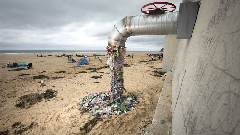 Surfers Against Sewage unveiled this installation at Watergate Bay in Newquay in the summer